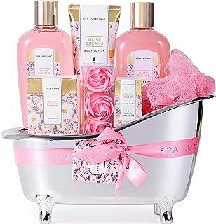 Spa Luxetique Coffret de Bain, Parfum de Marguerite, 8Pcs Coffret Soins pour Femme, Boules de Bain,Huile Esssentielle, Cad...