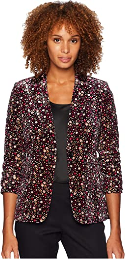 Floral Velvet One-Button Jacket