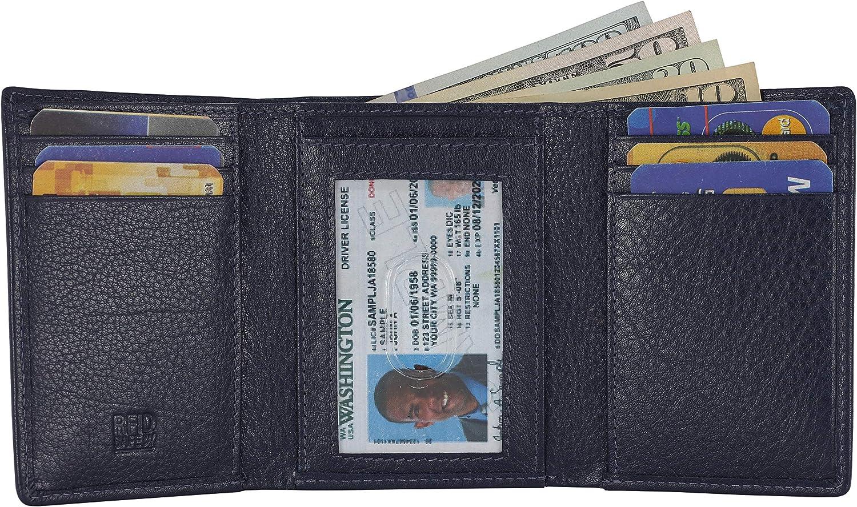 Slim RFID Wallets For Men- Genuine Leather Men's Front Pocket Trifold Wallet