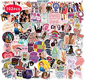 Feminist Stickers 102PCS Girl and Women Power Decals Pack for Laptop Mirror Diary Book Skateboard Motivational Vinyl Gifts