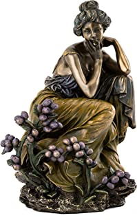 Top Collection French New Art Nouveau Contemplation Statue - Hand Painted Collectible Beautiful Lady Sculpture in Premium Cold Cast Bronze - 7-Inch Alphonse Mucha Collection
