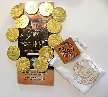 Universal Studios Wizarding World of Harry Potter Diagon Alley Gringot Bank Milk Chocolate Coins Decorative Bag 3. Oz & Commemorative Opening Week Map Gift Set