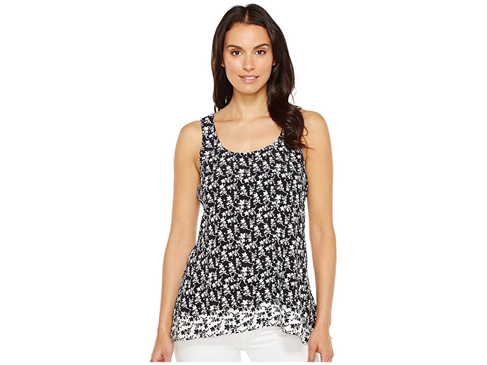 Karen Kane Contrast Floral Hem Tank Top (Black/Off-White) Women