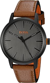 HUGO BOSS Men's Copenhagen Stainless Steel Quartz Watch with Leather Strap
