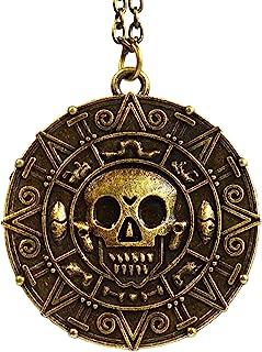 Ciondolo a forma di moneta / medaglione azteco con teschio, stile Pirati dei Caraibi, base metal, colore: Bronze, cod. CO0...