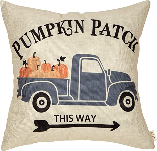 Fjfz Pumpkin Patch Fall Decorative Throw Pillow Cover Autumn Harvest Day Sign Decoration Rustic Vintage Truck Farmhouse Home Decor Cotton Linen Cushion Case For Sofa Couch 18 X 18