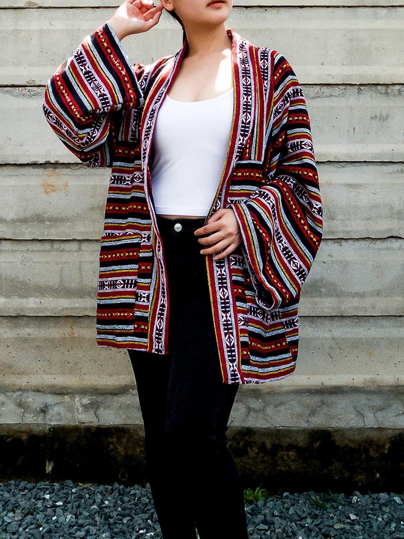 Red Kimono Jacket Boho Cardigan Soft Cotton Size Plus Chicago Mall Max 76% OFF Robes Clot