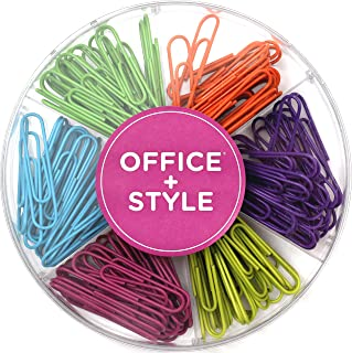 Decorative Large Multi Colored 50 mm Paper Clips for Home and Office, 6 Colors for Different Projects in Reusable Organizing Container, 42 Pieces, by Office Style