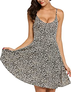 429084b834622 ACEVOG Women's Sleeveless Adjustable Strappy Summer Beach Floral Flared  Swing Dress Casual Fit