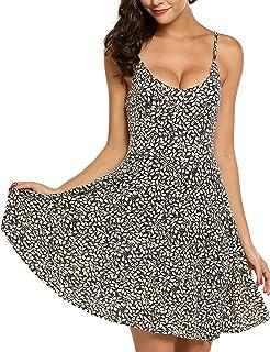 ACEVOG Women s Casual Fit and Flare Floral Sleeveless Beach Slip Strap  Skater Dress c2c7daa1c