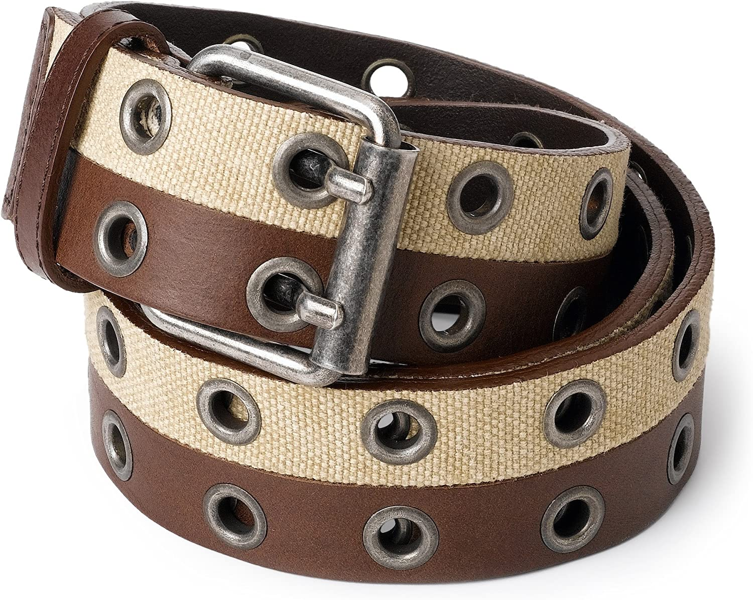 French Connection Men's Half Leather Canvas Belt