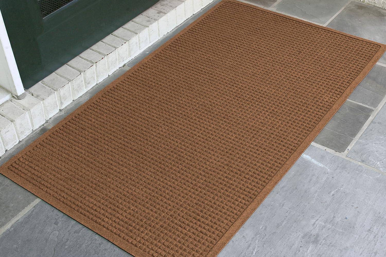 WaterHog Fashion Commercial-Grade Entrance Mat, Indoor Outdoor Charcoal Floor Mat 5' Length x 3' Width, Dark Brown by M+A Matting