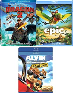 Fantasy Animated Triple Epic How to Train Your Dragon 2 & Cartoon Favorite Blu Ray Road Chip Alvin and the Chipmunks awesome Family movie Set