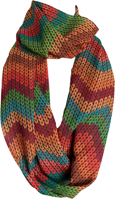 Etwoa's Knit Chevron Print Infinity Scarf Circle Scarf
