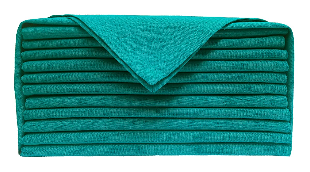 Cloth dinner Napkins-Flax Cotton Fabric- Teal color, Measuring 19x19, Wedding Napkins,Cocktails Napkins,Dinner Napkins,Decorative Napkins, Mitered Corners, Machine Washable Dinner Napkins Set of 12