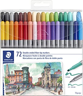 STAEDTLER double ended fiber-tip markers, for sketching, drawing, illustrations, and..