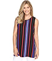 Vince Camuto - Sleeveless Core Multi Stripe Blouse with Slits