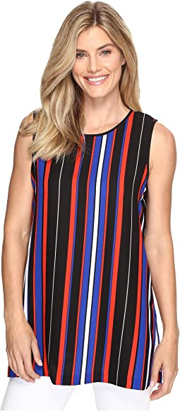 Sleeveless Core Multi Stripe Blouse with Slits