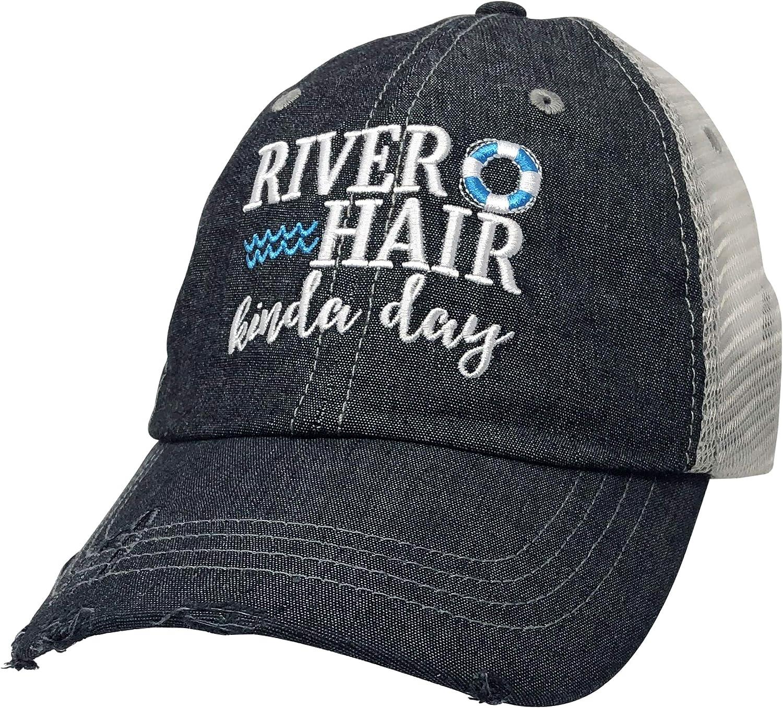 COCOVICI River Hair Kinda Day Embroidered Baseball Hat Mesh Trucker Style Hat Cap Float River Hat Dark Grey