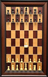Basic Chess Pieces on Red Cherry Straight Up Chess Set with Red Accent Frame