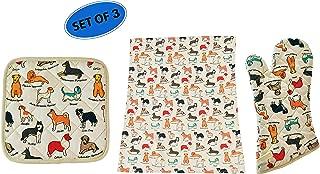 Home-X Oven Mitt, Potholder, and Tea Towel Kitchen Set for Dog Lovers