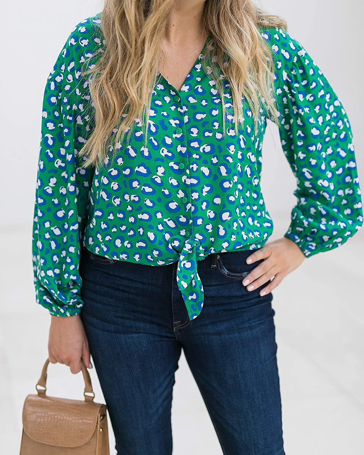The Drop Women's Emerald Animal Print V-Neck Tie-Front Button-Down Shirt by @graceatwood