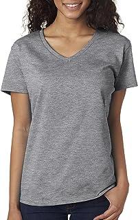 Gildan Women's Softstyle V-Neck T-Shirt - Medium - Sport Grey