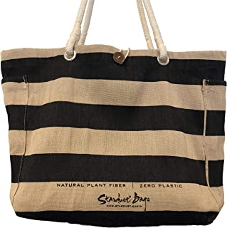 Stardust Reusable Eco-friendly Jute Grocery Bags, Compostable Tote (Black Beach)