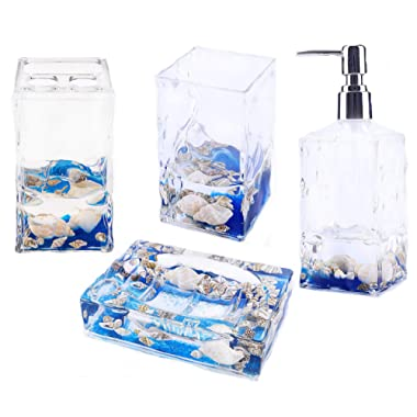 Locco Decor 4 Piece Acrylic Liquid 3D Floating Motion Bathroom Vanity Accessory Set Shell