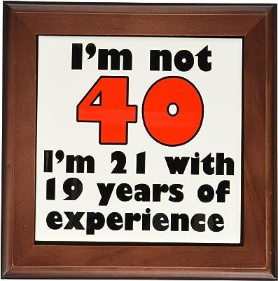3dRose ft_193479_1 Im Not 40. Red. Framed Tile, 8 by 8-Inch