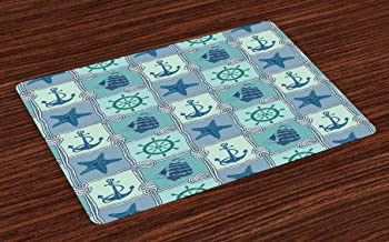 Ambesonne Ships Wheel Place Mats Set of 4, Nautical Patchwork Pattern with Rope Starfish Sailing Ship Anchor and Wheel, Washable Fabric Placemats for Dining Room Kitchen Table Decor, Turquoise Navy
