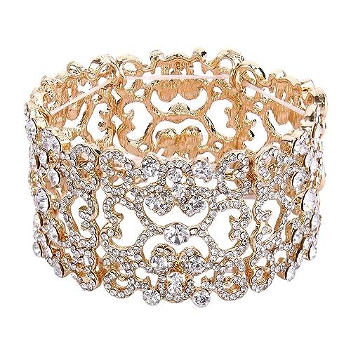 EVER FAITH Women s Austrian Crystal Bride Heart Art Deco Elastic Stretch  Bracelet Clear 413b2c01916d