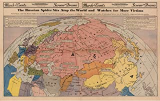 History Prints Cold War Map - Russian Spider Sits ATOP The World, Los Angeles Examiner, 1940-24 x 36 inches