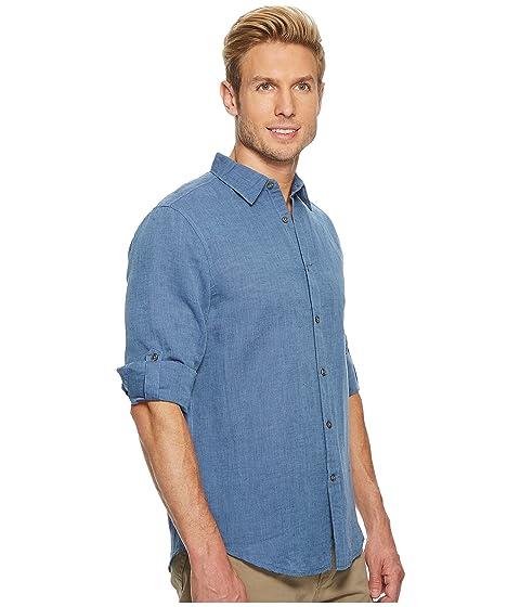 Perry de de manga de camisa liso lino Delft algodón Ellis enrollada FFHOqp