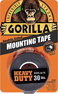 "Gorilla Heavy Duty Double Sided Mounting Tape, 1"" x 60"", Black 1 - Pack Black 6055001 1"