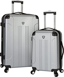 """Travelers Club Chicago 2 3 Piece Hardside Expandable Spinner Luggage Set, Silver, 2 PC (28""""/20"""")"""