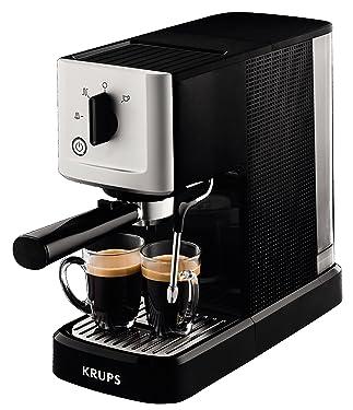 Krups CALVI Steam & Pump Espressomaschine XP3440 XP344010, Edelstahl, 1 L, schwarz/silber, authentischer, cremiger Espresso mit einer der kompaktesten Siebträger-Espressomaschine