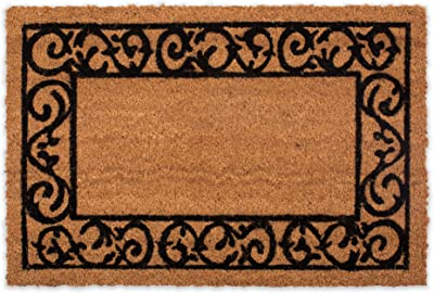 DII Indoor/Outdoor Natural Coco Coir Non Slip Backing Entry Way Doormat for Patio, Front, Weather Exterior Doors, Printed Scroll, 24x36