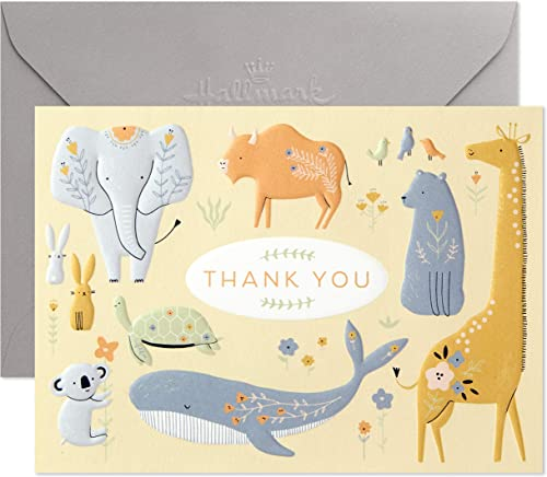 Hallmark Baby Shower Thank You Cards, Painted Animals (20 Cards with Envelopes for Baby Boy or Baby Girl) Elephant, K...