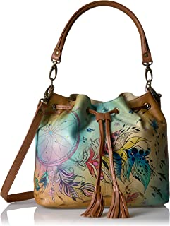 Anna by Anuschka Handpainted Leather Drawstring Satchel-Sweet Dreams