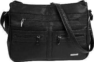 Large Faux Leather Handbag/Shoulder Bag with 7 Zip Compartments & Double Zip Top (Black)