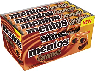 Mentos Candy Roll, Caramel & Chocolate, Non Melting, 1.34 Ounce/9 Pieces (Pack of 12)