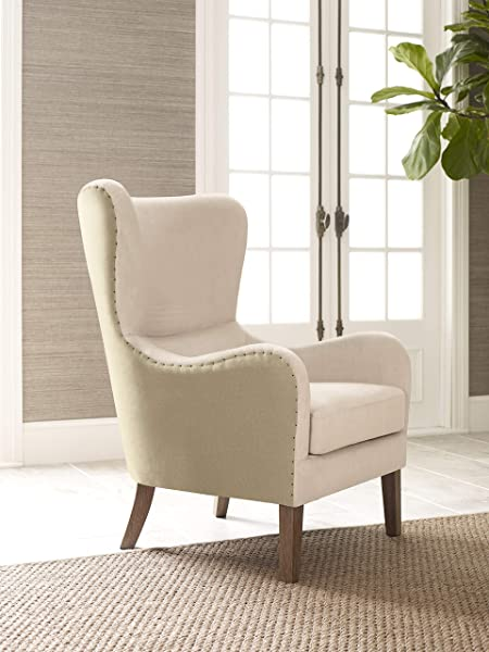 Elle Decor UPH100085E Modern Farmhouse Wingback Chair Cream Tan