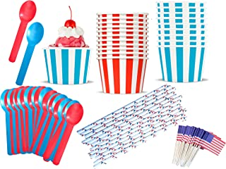 Patriotic Ice Cream Sundae Kit - July 4th Red White and Blue - 8 Ounce Striped Paper Treat Cups -Heavyweight Plastic Spoons - Paper Straws - Flag Picks - 24 Each