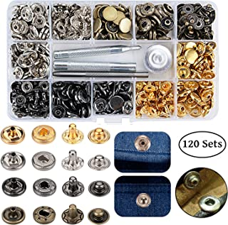 120 Sets Snap Fastener Kit, Outggek Leather Snap Buttons Press Studs with 4PCS Fixing Tools, Metal Snaps for Clothing Leather Bracelet Jeans Wear Jacket Bags Belts, 633(12.5mm)