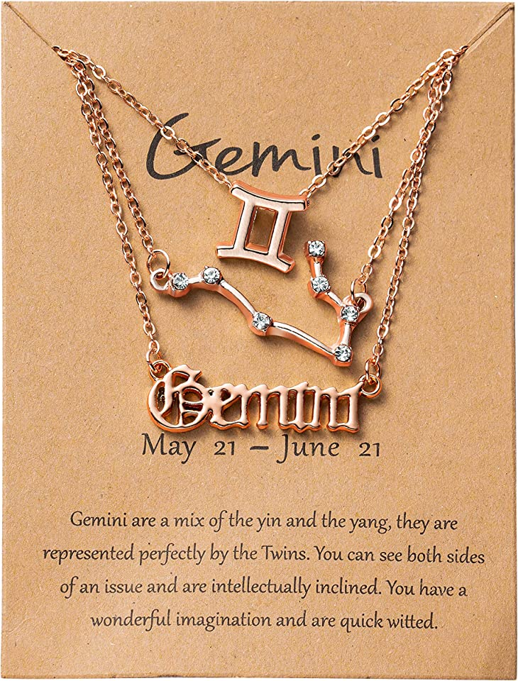 PANTIDE 3Pcs Constellation Zodiac Layer Necklace for Women Retro Rose Gold Plated 12 Constellation Pendant Exquisite Letter Horoscope Old English Zodiac Sign Necklace Jewelry Birthday Gift(Rose Gold)