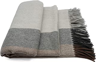 State Cashmere Colorblock Stripe 100% Pure Cashmere Throw Blanket Multicolor Bed Spread with Fringes (Grey/Black/Brown)