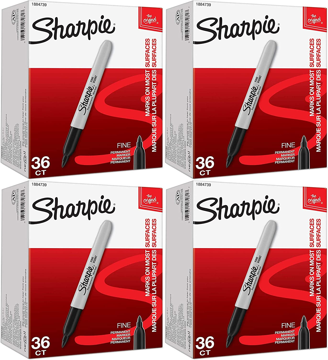Sharpie Permanent Markers Fine Point Factory outlet Black Count NEW 4 Pack of 36
