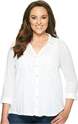 Plus Size Woven Gauze Mixed Top