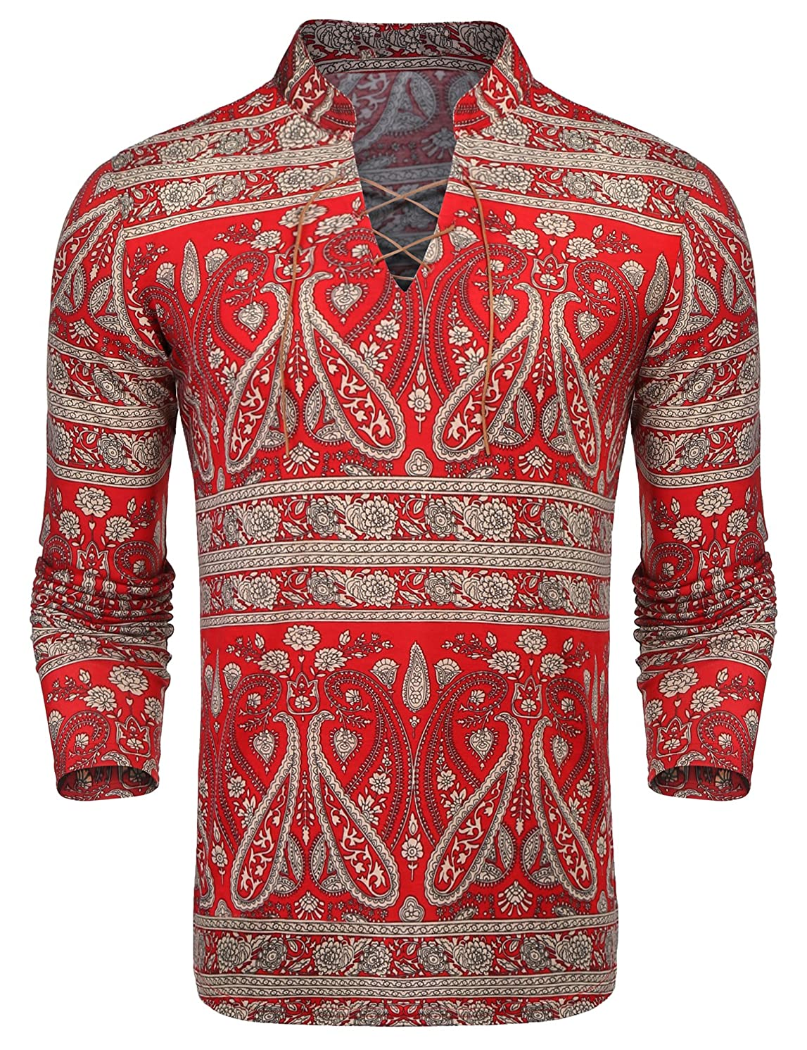 COOFANDY Mens Floral Hippie Shirt Long Sleeve Casual Cotton Paisley Print Lace-Up Henley T Shirt